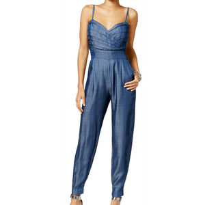 NWOT Guess Chambray Pleated Sleeveless Jumpsuit